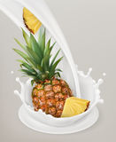 Milk splash and pineapple. 3d vector object. Natural dairy products Royalty Free Stock Images