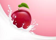 Milk splash and plum Royalty Free Stock Photography