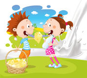 Milk splash pour milk design with grass cheese children Stock Photo