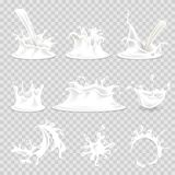 Milk splash pouring drops vector 3d realistic isolated icons set Stock Photography