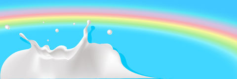 Milk splash with rainbow background - vector Stock Images
