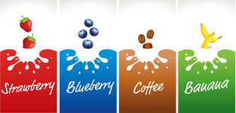 Milk splash with strawberry, blueberry, coffee beans, banana. Milk splash with strawberry, blueberry, coffee beans Royalty Free Stock Photography