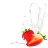 Milk splash strawberry Stock Photos