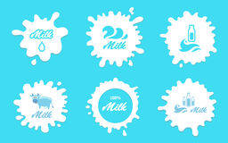 Milk splashes vector labels or logos elements for packaging and advertising. Farm products stock illustration