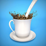 Milk splashing in coffee. 3d Royalty Free Stock Image