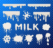 Milk splat collection. Set on transparent background Royalty Free Stock Photo
