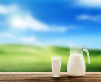 Milk and spring field Royalty Free Stock Image