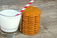 Milk with a straw and gingerbread cookies Stock Images