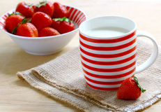 Milk and strawberries Stock Image