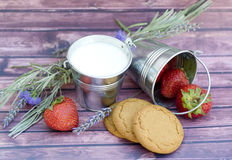 Milk and strawberries Stock Images
