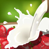 Milk and strawberry Royalty Free Stock Images