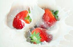 Milk with strawberry Stock Photo