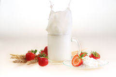 Milk and strawberry on a white background, milk splash in a tran. Sparent mug and cottage cheese with a strawberry stock image