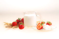 Milk and strawberry on a white background, milk in a transparent. Mug and cottage cheese with a strawberry royalty free stock images