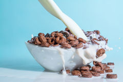 Milk stream jet pouring into a bowl with chocolate flakes in the form of rings, splashes of milk on a blue backgro Stock Image