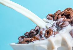 Milk stream pouring into a bowl with сornflakes close-up. Stock Photos