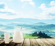 Milk and sunny spring day, tuscany stock photo