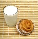 Milk and sweet bun Stock Images