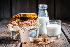 Milk and sweet nut cookies Royalty Free Stock Image