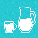 Milk symbol. Cup with milk and jar. Silhouettes on blue textured background. Stock Image