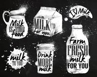 Milk symbolic drawing chalk Stock Image