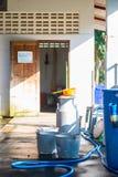 Milk tank for store cow's milk. Farm royalty free stock photo