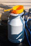 Milk tank for store cow's milk. Farm royalty free stock images