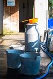 Milk tank for store cow's milk. Farm royalty free stock image
