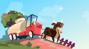 Milk Tanker Transportation Cow Breeding Farm royalty free illustration