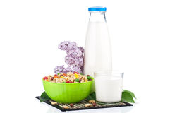 Milk with tasty cornflakes Royalty Free Stock Photo