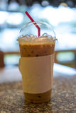 Milk tea in cafe with blur background Royalty Free Stock Images