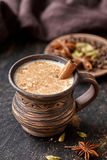 Milk tea chai latte traditional refreshing morning breakfast organic healthy hot beverage Royalty Free Stock Photo