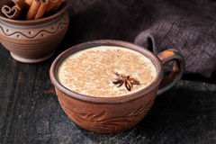 Milk tea chai latte traditional refreshing morning organic healthy hot beverage Royalty Free Stock Photos