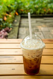 Milk Tea , Ice Tea , Plastic glass on wooden. Stock Photo