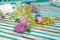 Milk thistle blossoms. Milk thistle oil in softgels in the background stock photo