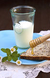 Milk, toast and honey Royalty Free Stock Photography
