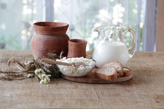 Milk in a transparent jug and cottage cheese Stock Images