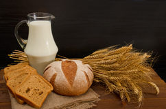 Milk in a transparent jug, round and square rye bread, a sheaf on wooden table, black background Royalty Free Stock Image