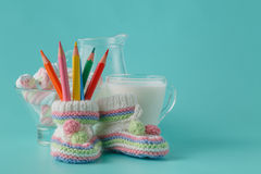 Milk, twisted marshmallow and color pencil Stock Photos