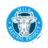 Milk vector logo design template. cow or farm icon. Cow head on white background. vector illustration Stock Photos