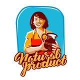 Milk vector logo. milkmaid, farm, farming icon Stock Images