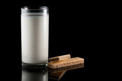 Milk and wafer Stock Images