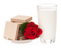 Milk with wafers Royalty Free Stock Photos
