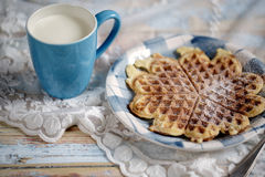 Milk and Waffle Royalty Free Stock Images
