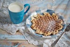 Milk and Waffle Stock Photo