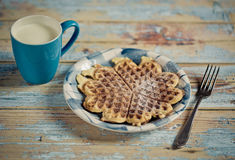 Milk and Waffle Royalty Free Stock Photography