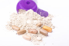 Milk whey protein and vitamins for recovery after Royalty Free Stock Photography