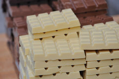 Milk and white chocolate Stock Photos