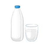 Milk in a white plastic bottle and glass beaker. Cartoon icons. Isolated objects on white background. Vector illustration. Dairy products stock illustration