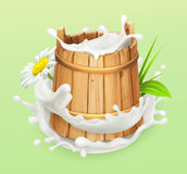 Milk. Wooden bucket. Natural dairy products. 3d vector icon stock illustration